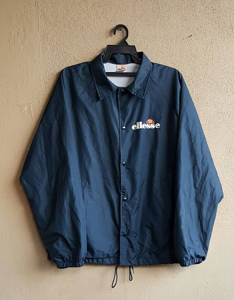 Original Vintage ELLESSE Navy Blue Nylon Windbreaker Full Button Jacket  Made In USA Size L by alltrade1 on Etsy a1e2edb96e