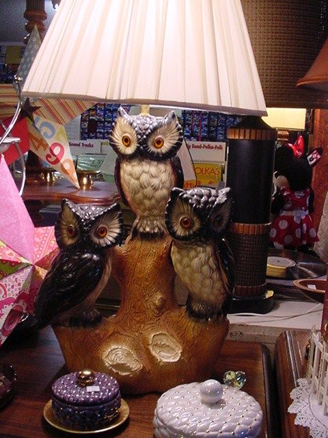 Vintage Chalkware Three Owl Lamp...Just found this exact lamp at ...