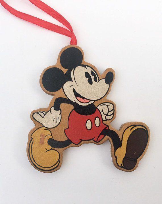 Vintage Walt Disney Mickey Mouse Painted Wooden Figural Christmas Tree Ornament Running Walt Disney Mickey Mouse Disney Mickey Mouse Disney Mickey