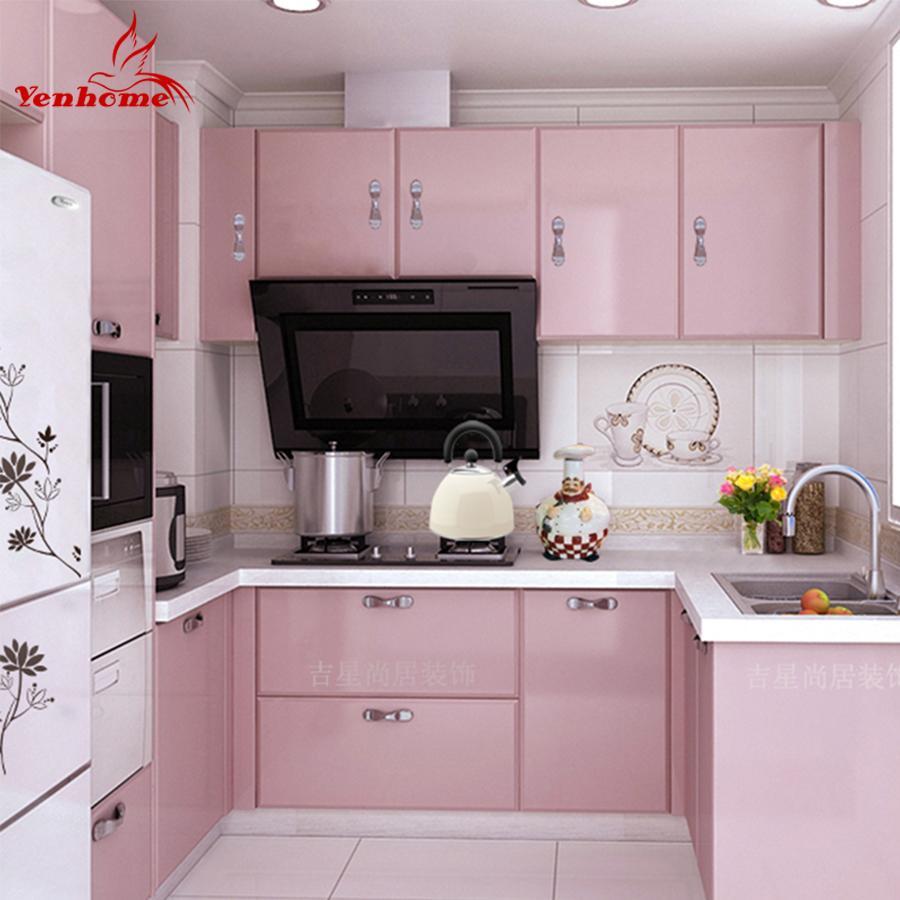 Waterproof Vinyl Decorative Film Self Adhesive Wallpaper Roll For Kitchen Furniture Stickers Pvc Home Dec Pink Kitchen Kitchen Cupboard Doors Kitchen Cupboards
