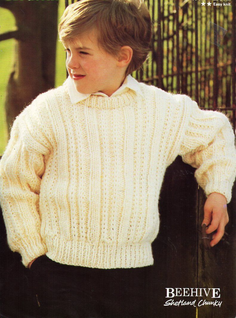 Childrens chunky sweater knitting pattern pdf childs ribbed jumper ...