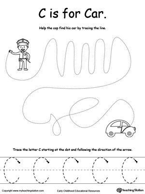 the letter c is for car fine motor skills tracing letter c preschool teaching letters. Black Bedroom Furniture Sets. Home Design Ideas