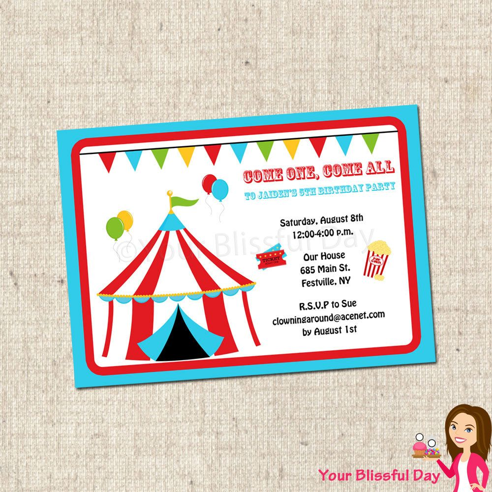 Carnival Printable Party Invitations #518 | Personalized Carnival ...