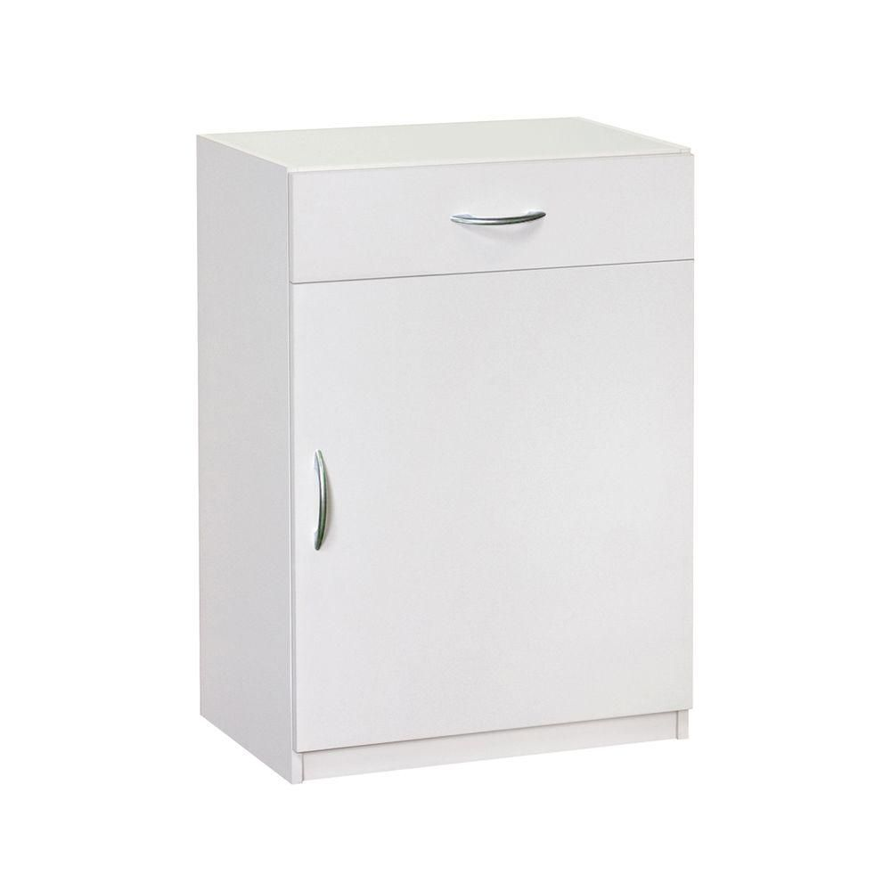 Closetmaid Laminate 1 Door And 1 Drawer Base Cabinet In White 12285 The Home Depot Closetmaid White Laminate Base Cabinets