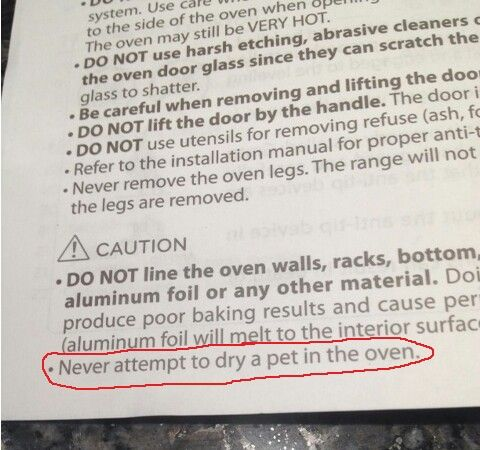 Found on oven directions~