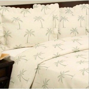 Tropical Palm Tree Cotton Matelasse Coverlet Set   Machine Washable