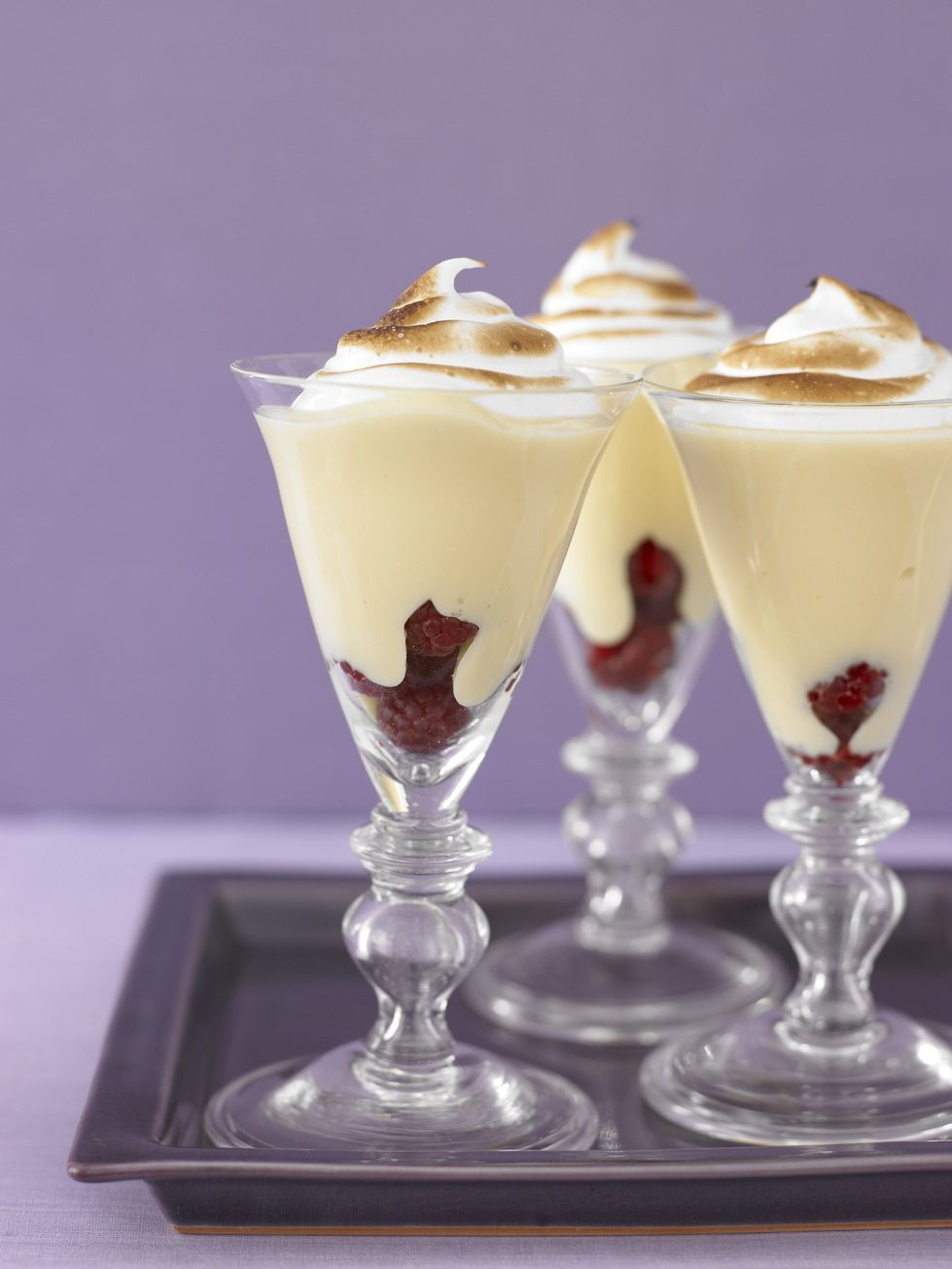 Add sweet sophistication to classic lemon meringue pie with these parfaits piled high with fresh raspberries, creamy lemon custard and a lightly browned meringue topping. Get the recipe.