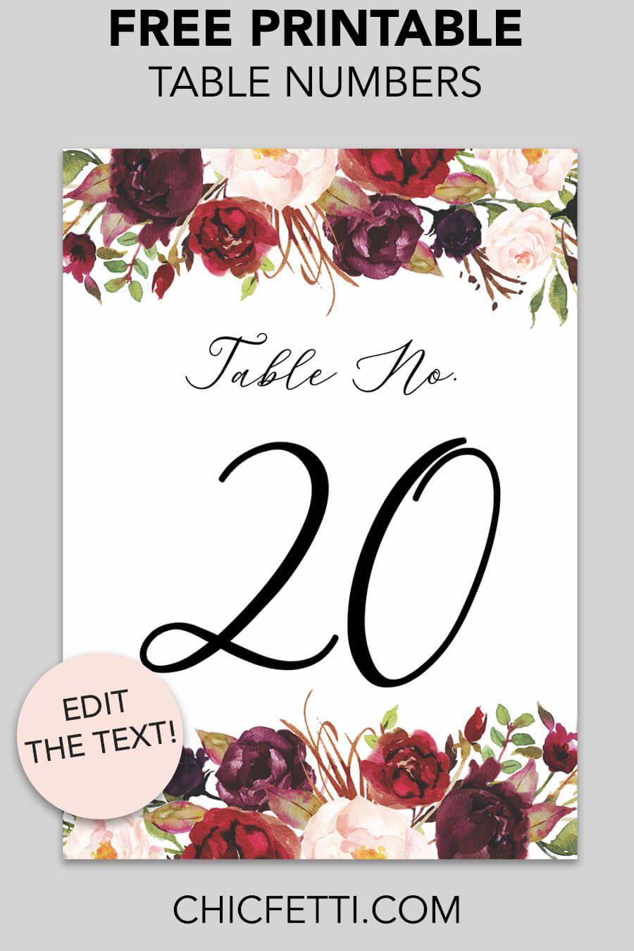 Marsala Floral Printable Table Numbers Card Table Wedding