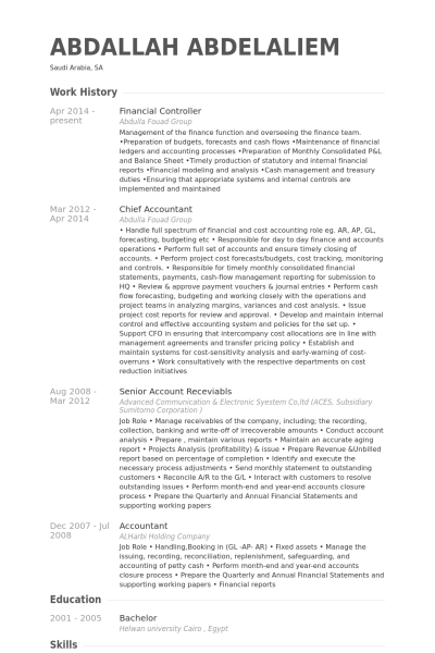 financial controller Resume Example CV Templates Pinterest