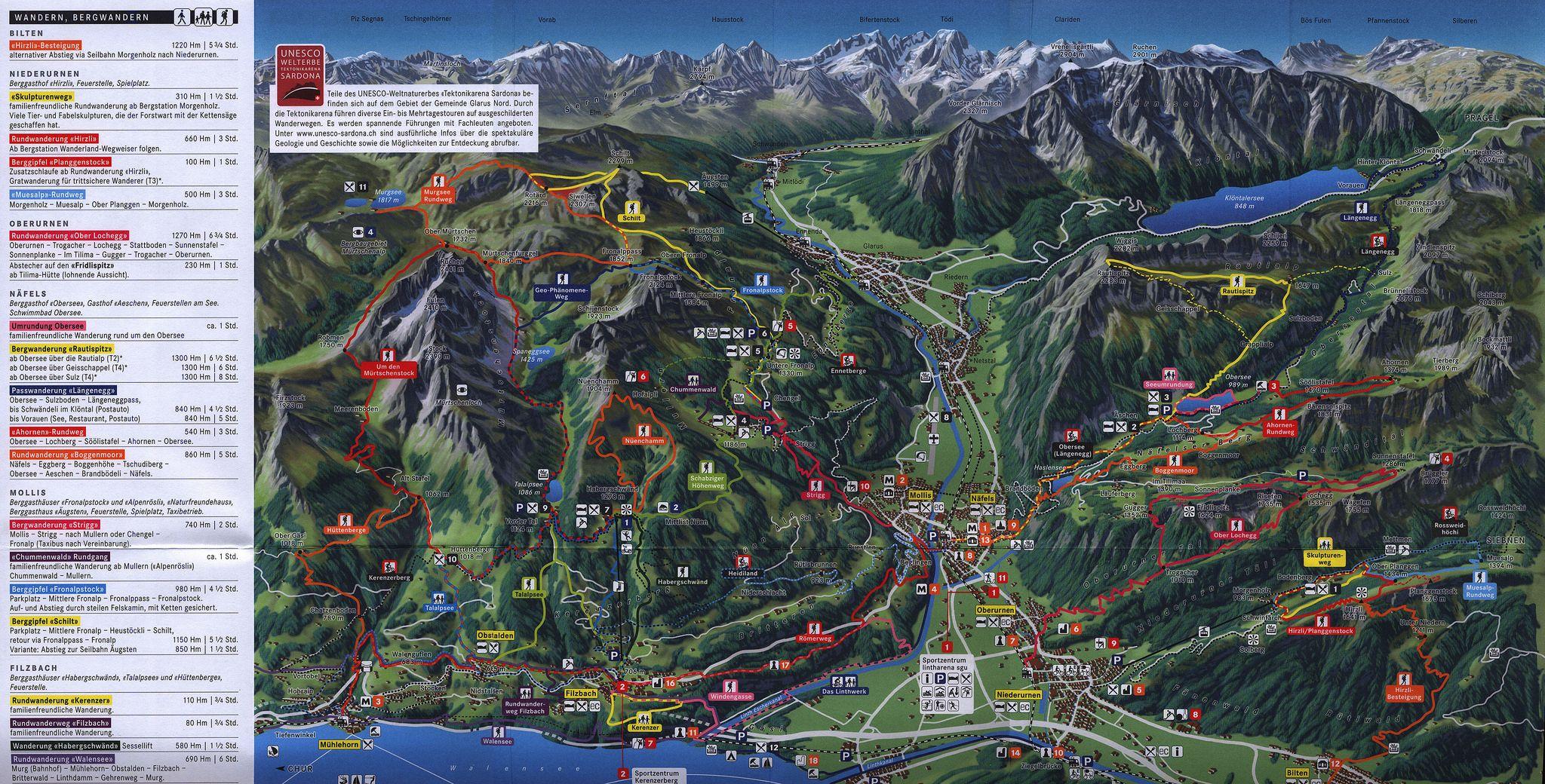 Glarus Nord map Sommer Sport und Freizeit Gastronomie und