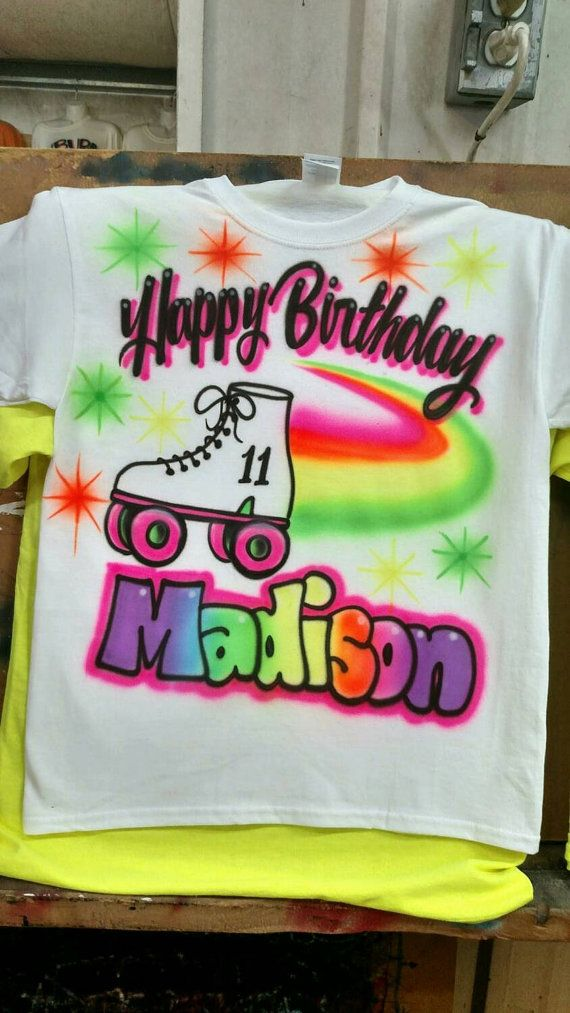 Roller Skate Shirt Airbrush Personalized Kids Tshirt Birthday Christmas Gift Ideas Airbrushed Toddler ANY NAME AGE Sizes Available
