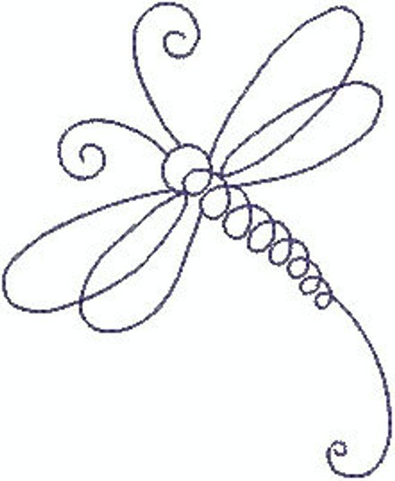 Dragonfly Line Machine Embroidery Design #softwaredesign