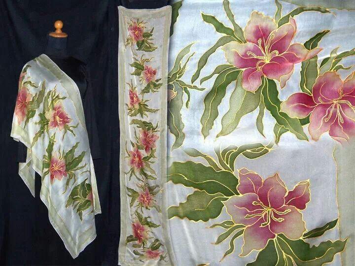 Pashminasilk paintingflowersart silk and chiffon painting silk paintingflowersart mightylinksfo
