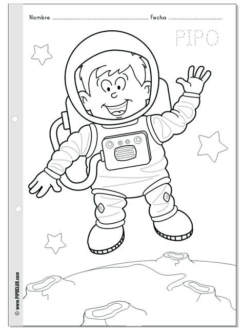 Pipo astronauta - Colorea a Pipo en el espacio - Semana Mundial del ...