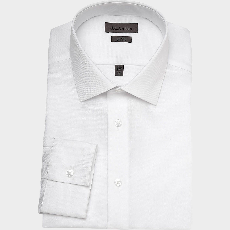 M's shirt -- Calvin Klein White Corded Slim Fit Dress Shirt   Mens Wearhouse