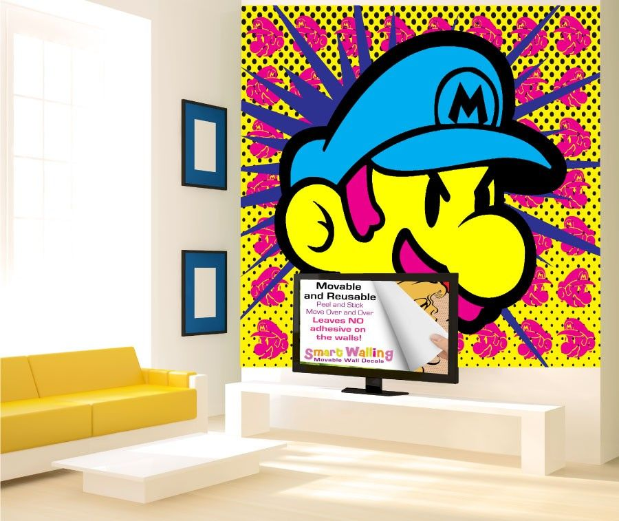 Pop Art Super Mario Wall Stickers Mural - Totally Movable | Wall ...