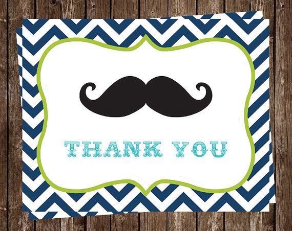 Mustache Thank You Cards Little Man Birthday Baby Shower Chevron
