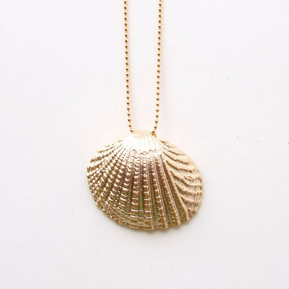 Seashell Necklace Cockle Matte Gold Colored Shell. by PetitBlue