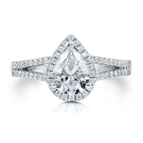 Frauen Hochzeitsschmuck 925 Sterling Silber 1,29 Karat Birne CZ Halo Versprechen Verlobung Split Shank Ring