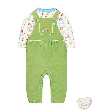 60733a97c little bird by Jools cord dungarees and bodysuit set