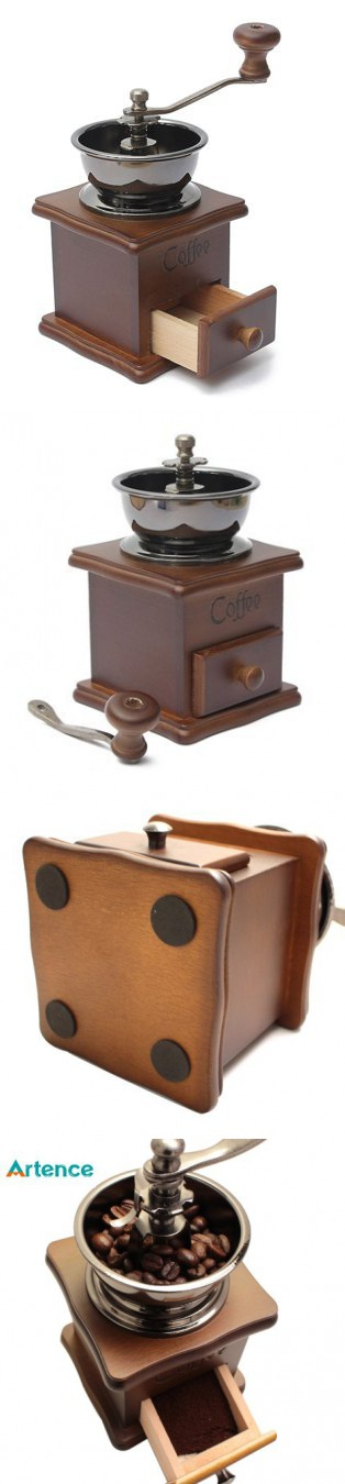 TP7 Classical Wooden Mini Coffee Grinder Manual Stainless Steel Retro Coffee Spice Mill With Porcelain Movement