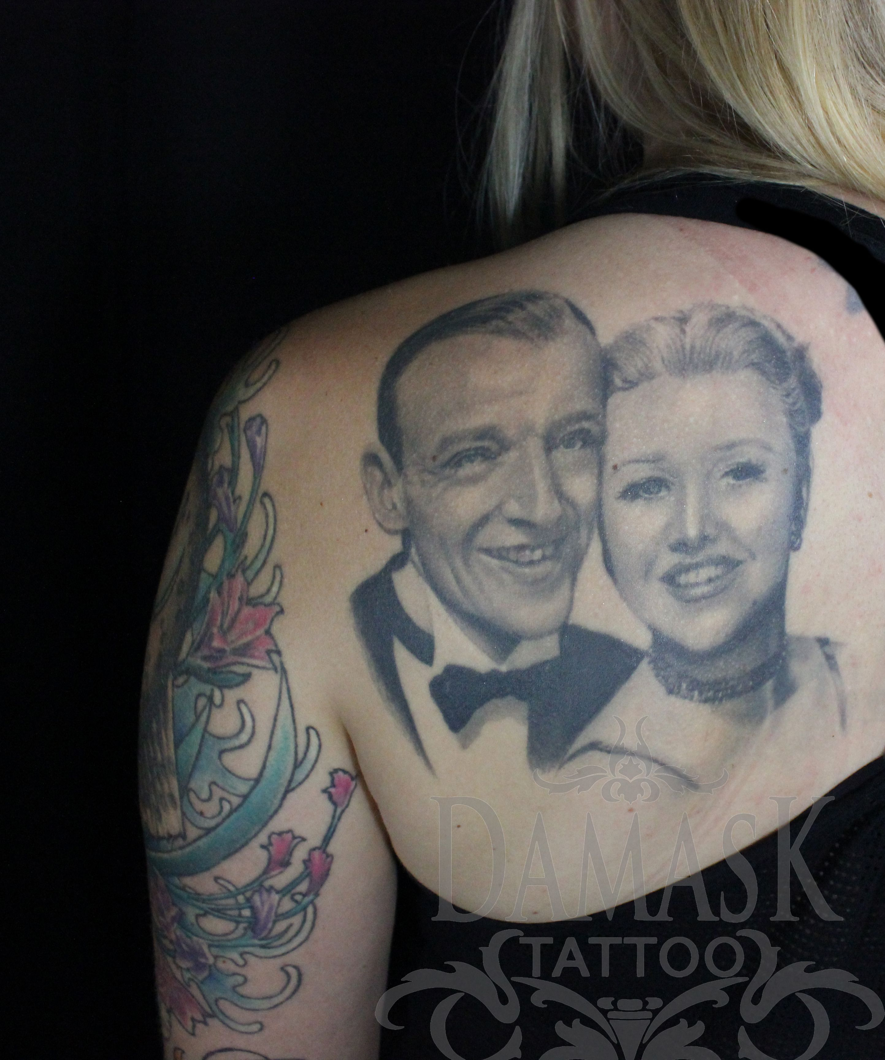 Ginger Rogers And Fred Astaire Portraits Tattooed By Christy Lillard Brooker At Damask Tattoo In Seattle Wa
