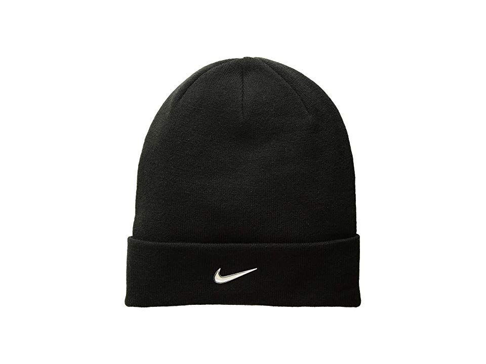 11abb66f9 Nike Kids Metal Swoosh Beanie (Little Kids/Big Kids) (Black/Metallic ...
