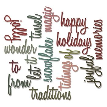 RESERVE Tim Holtz Sizzix HOLIDAY WORDS 2 SCRIPT Thinlits Die 660977 -HAVE IT NOW