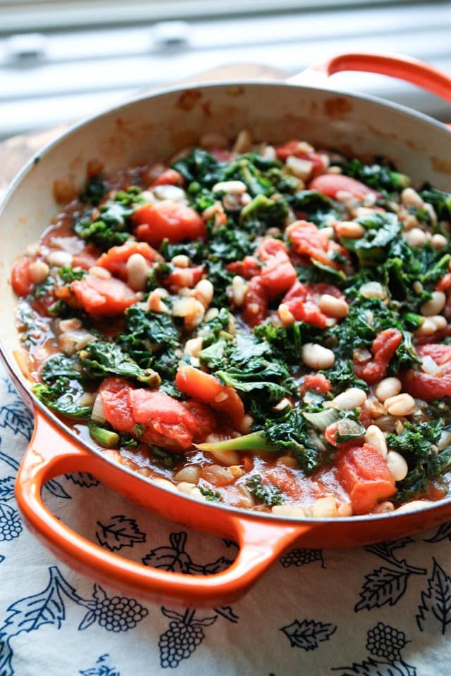 Kale with Stewed Tomatoes and White Beans || Aggie's Kitchen