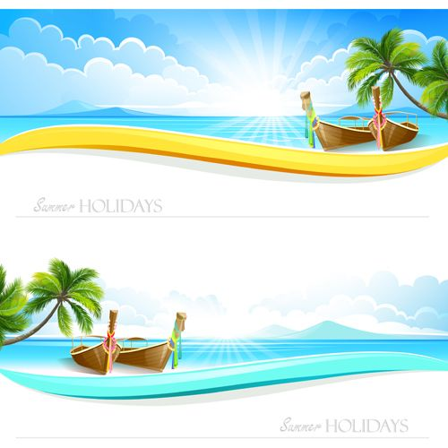 Tropical islands holiday background design vector 01