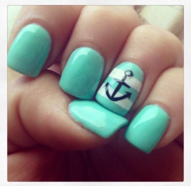 Acrylic nails teal striped with an anchor rhinstone nails acrylic nails teal striped with an anchor prinsesfo Images