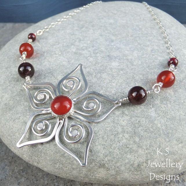 Carnelian & Garnet Sterling Silver Swirl Blossom Necklace - Metalwork Handmade £55.00