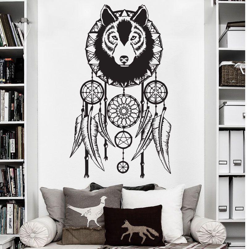 wolf dreamcatcher decal wall art decor sticker vinyl dreamcatcher