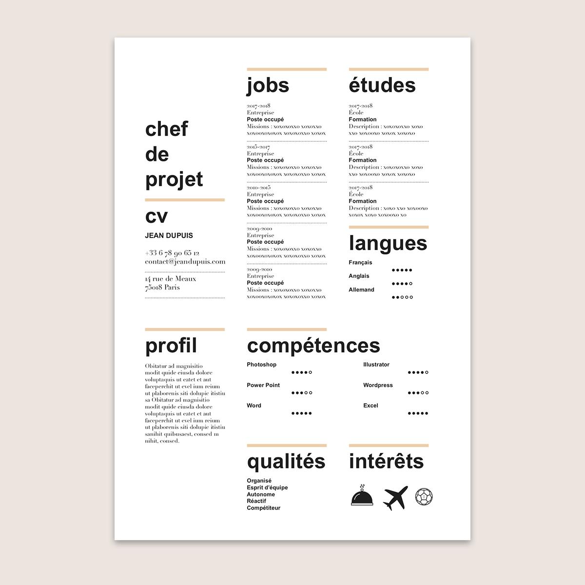 9 Lettre Projet Professionnel Fongecif: Modèle De CV à Télécharger Et Personnaliser : Le CV