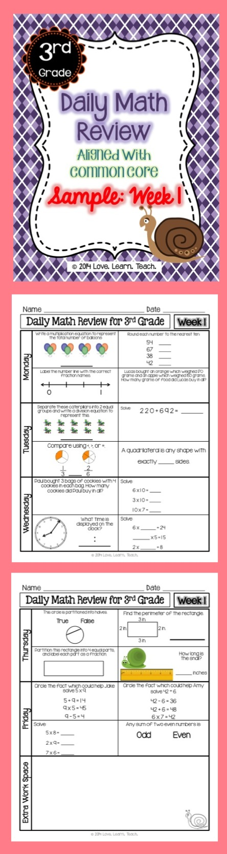 Free 1 Week Sample Of Spiral Daily Math Review For 3rd Grade