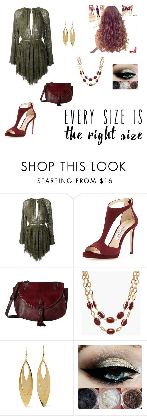 """Olive and Burgundy ? Perfecto"" by taylnick ❤ liked on Polyvore featuring Jay Ahr, Jimmy Choo, Madden Girl, Talbots, Kenneth Jay Lane and powerlook"
