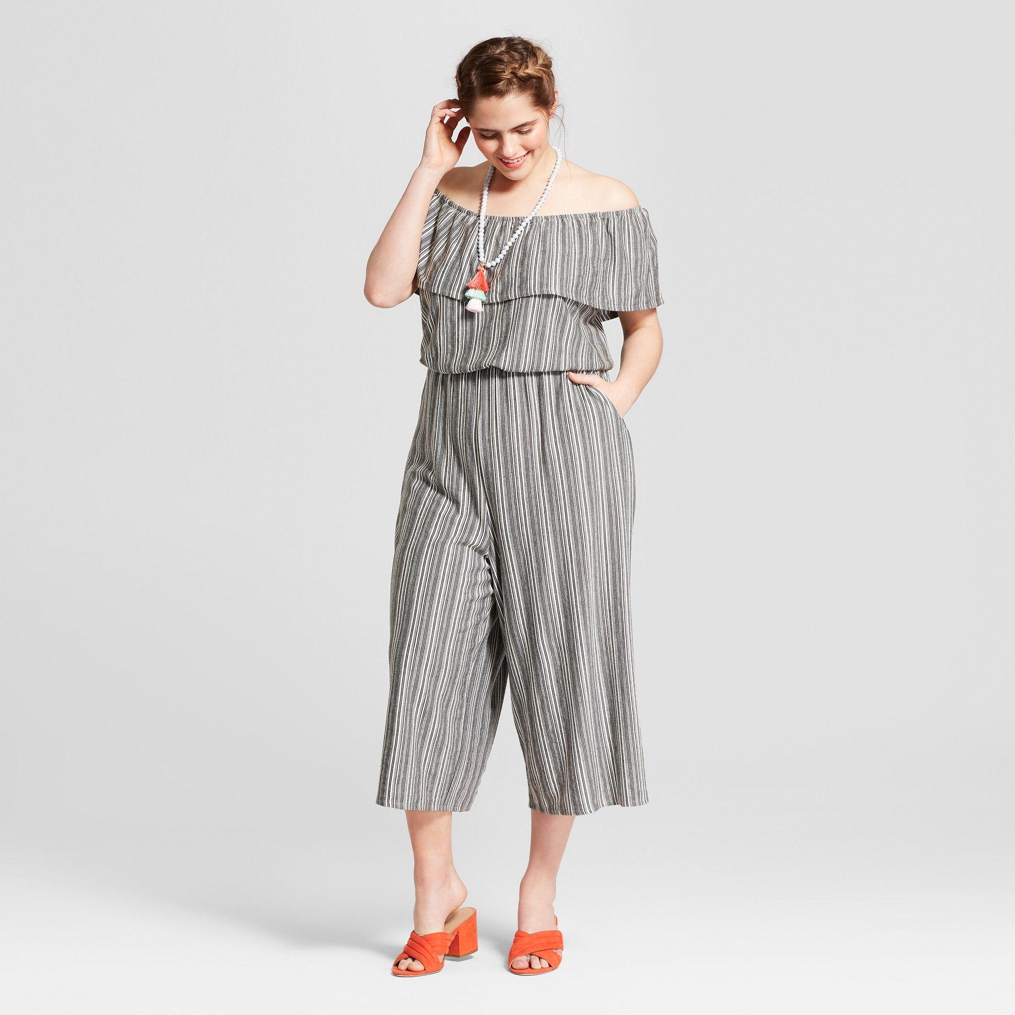 3b117ce266b Women s Plus Size Printed Off the Shoulder Knit Jumpsuit - Xhilaration  Black White 2X