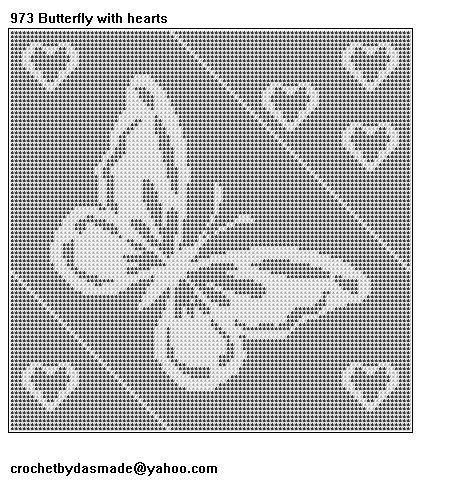 973 Butterfly Hearts Filet Crochet Doily Afghan Tablecloth Pattern ...