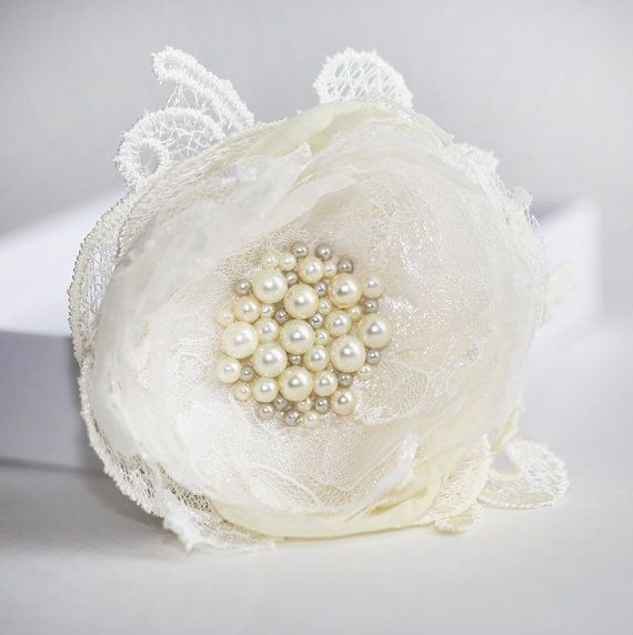 Pearl Lace Organza Flower Hair Clip Ivory Color by JerseyBride