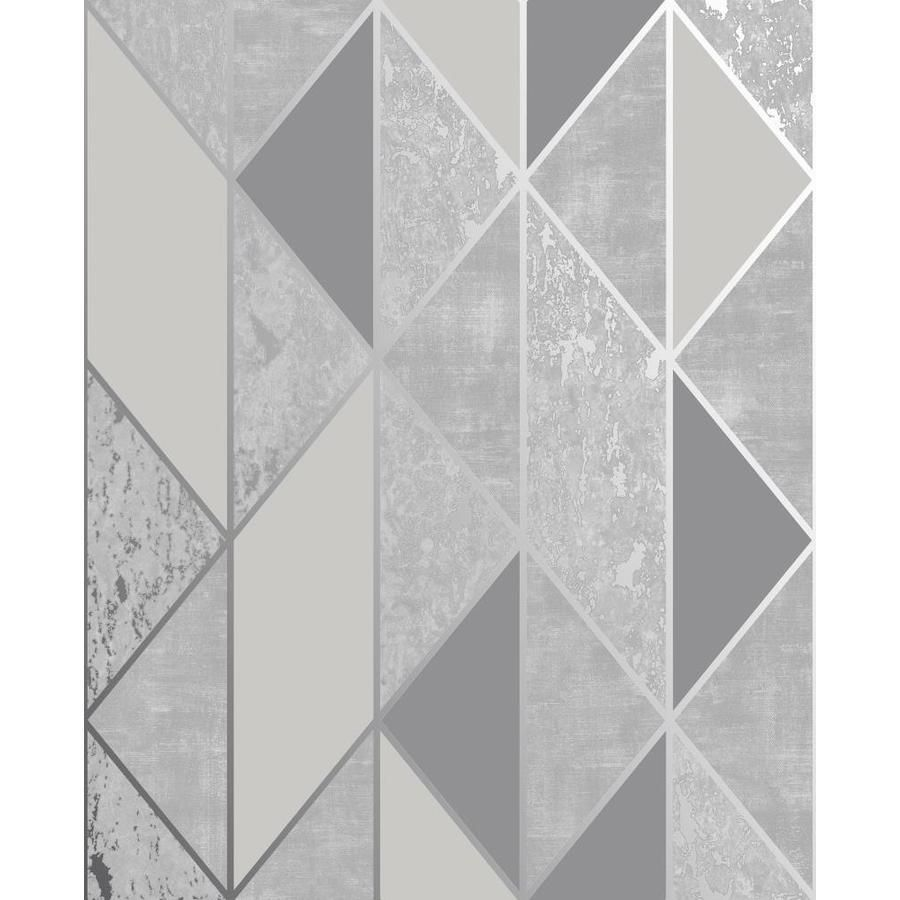Graham Brown Milan 56 Sq Ft Silver Grey Vinyl Textured Stripes Unpasted Wallpaper Lowes Com Grey Removable Wallpaper Grey Wallpaper Vinyl Wallpaper
