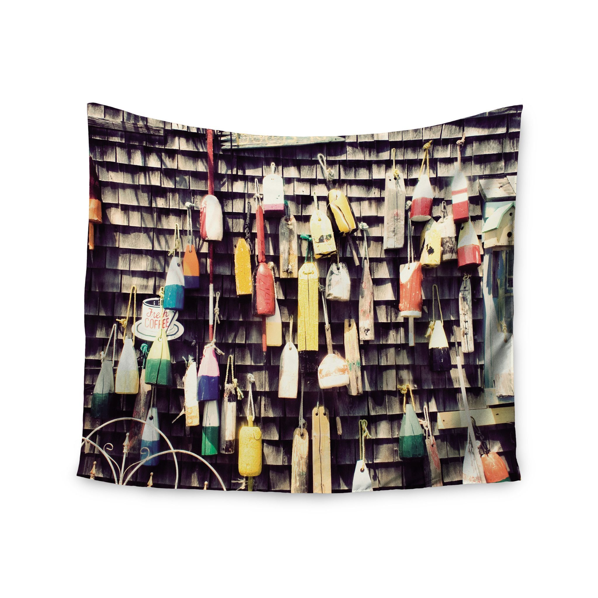 "Jillian Audrey ""Hanging Buoys"" Brown Multicolor Wall Tapestry"