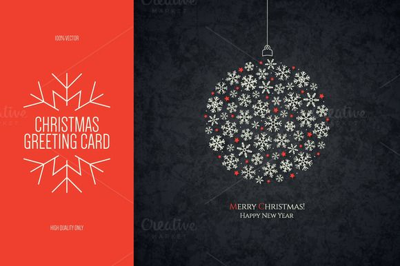 Christmas And New Year Greeting Card By Restaurant Menu  Logos On