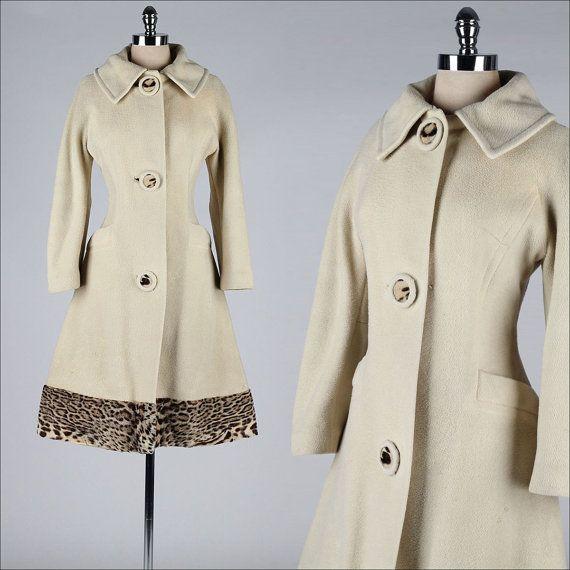 vintage 1960s coat . ivory wool . leopard by millstreetvintage