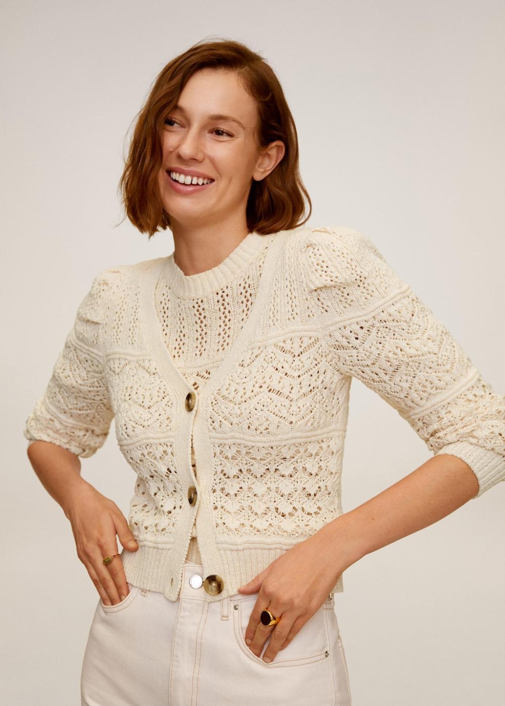 Cotton sweater Openwork Summer sweater ecru sweater
