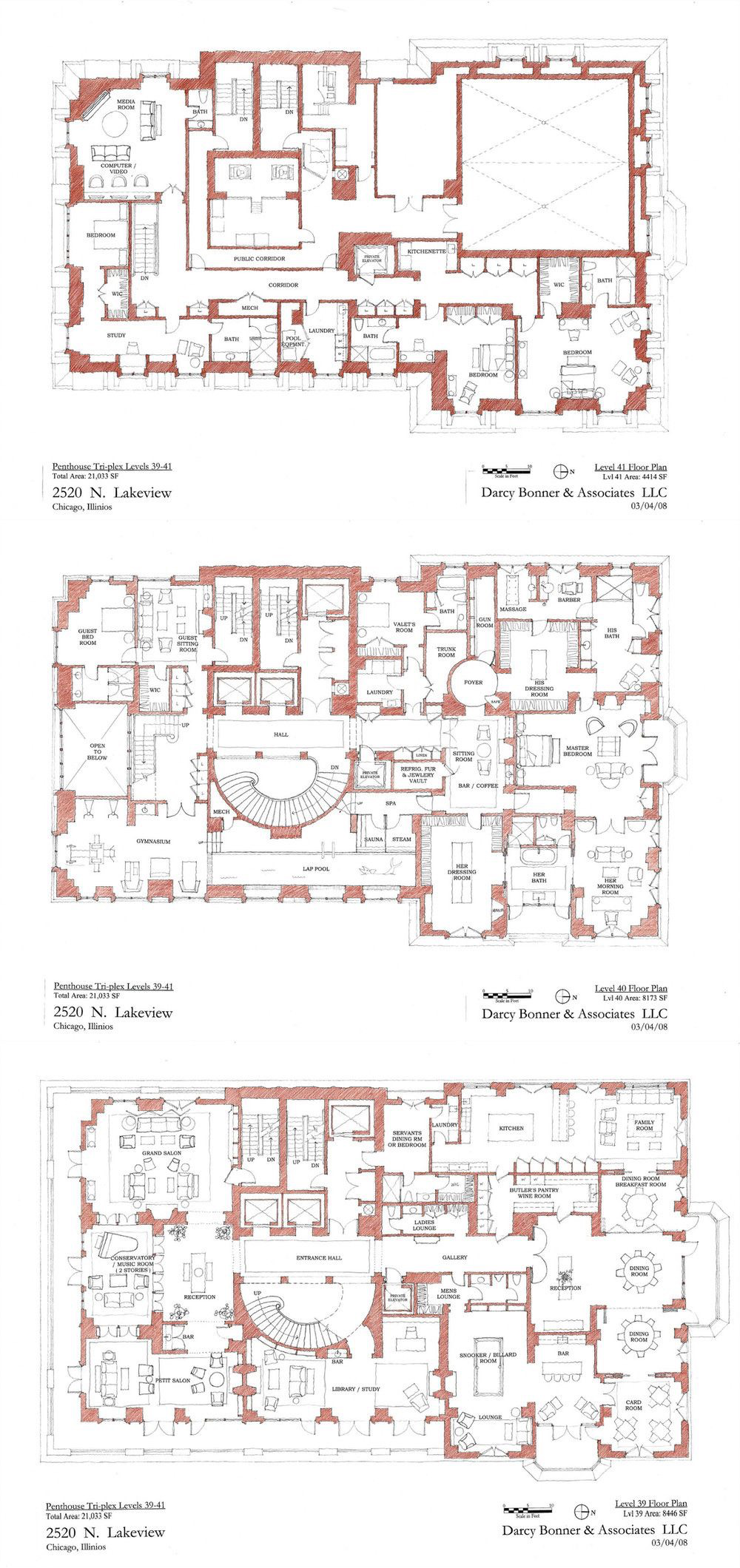 2550 N Lakeview Triplex Penthouse Darcy Bonner Architectural Floor Plans Luxury Floor Plans Mansion Floor Plan