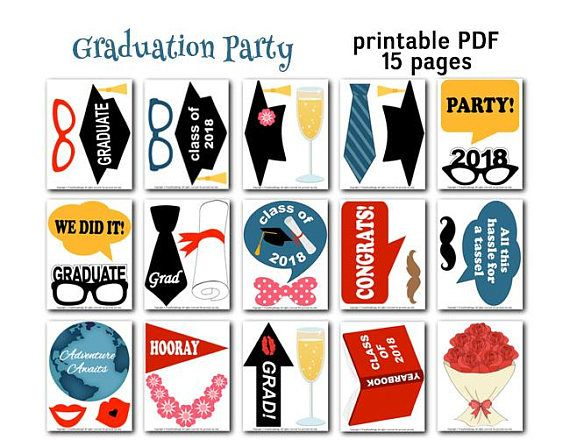 graphic about Graduation Photo Booth Props Printable known as Printable 2018 Commencement Picture Booth Props, Commencement