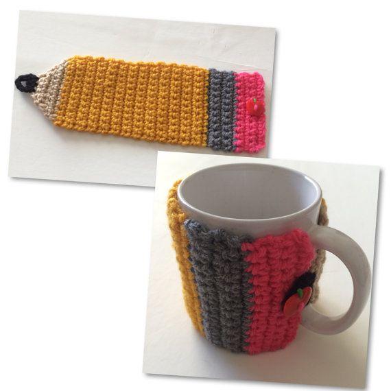 Crochet Pencil Coffee Cup Cozy | Teacher Gift Teacher Appreciation ...