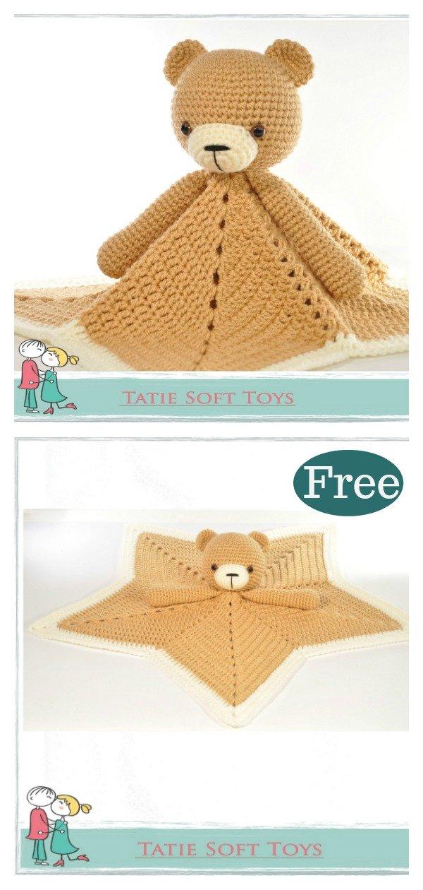 Teddy Bear Lovey Blanket Free Crochet Pattern