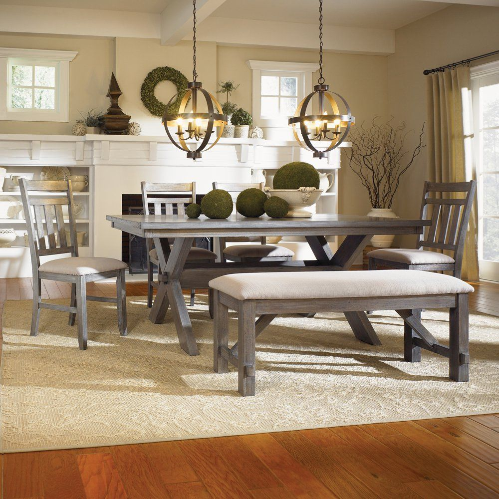 Buy Powell Turino Piece Rectangle Dining Room Set Grey Oak And Apply Wooden Table With Bench