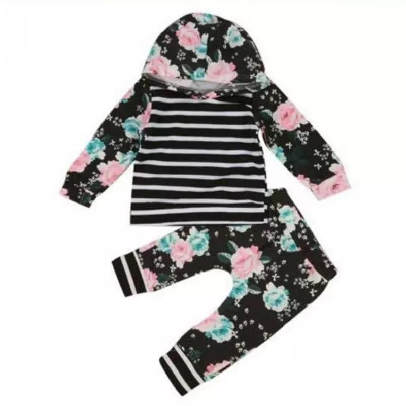 Stylish CLetter Print Hoodie Tops+Pants for Toddler Kids Baby Boys Girls 0-24 Months 2Pcs Outfits Spring Clothes
